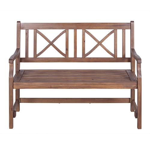 Walker Edison Furniture Co. 48-Inch Acacia Wood Folding Bench, Dark Brown