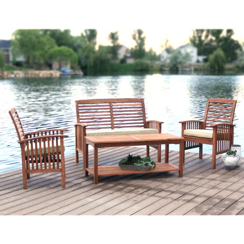 4-Piece Brown Acacia Patio Conversation Set with Cushions