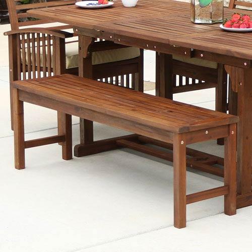 Walker Edison Furniture Co Acacia Wood Patio Bench Dark Brown