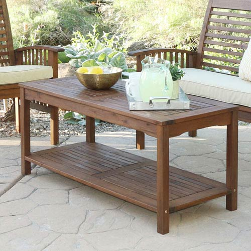 Acacia Wood Patio Coffee Table - Dark Brown
