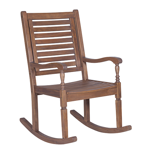 Walker Edison Furniture Co Solid Acacia Wood Rocking Patio Chair Dark Brown