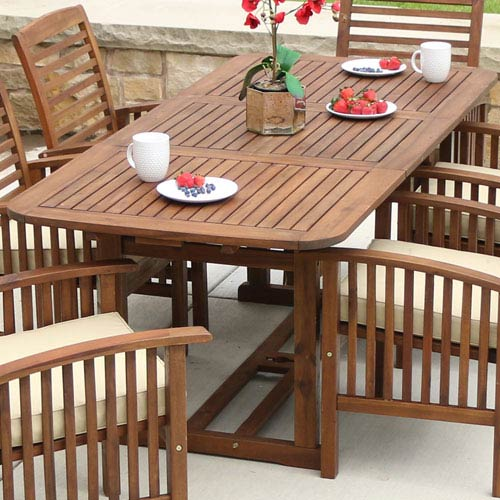 Walker Edison Furniture Co Acacia Wood Patio Erfly Table Dark Brown