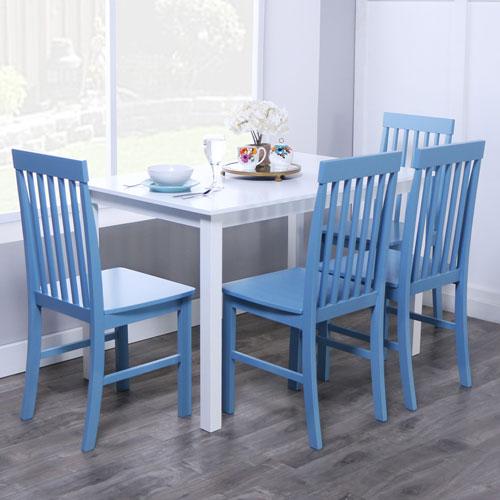 Greyson 5-Piece Dining Set - White/Powder Blue