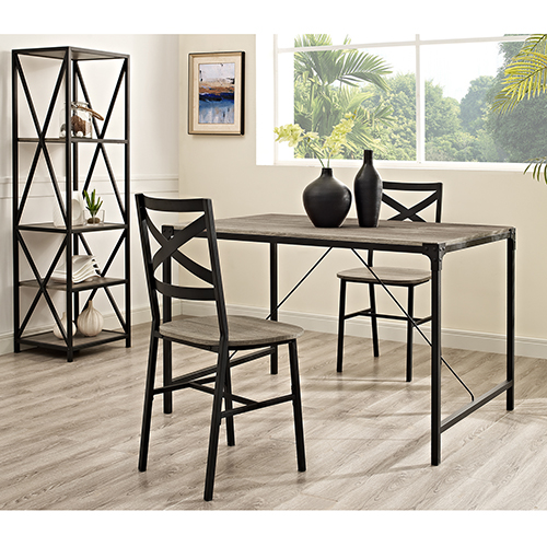 48-Inch Angle Iron Wood Dining Table, Driftwood