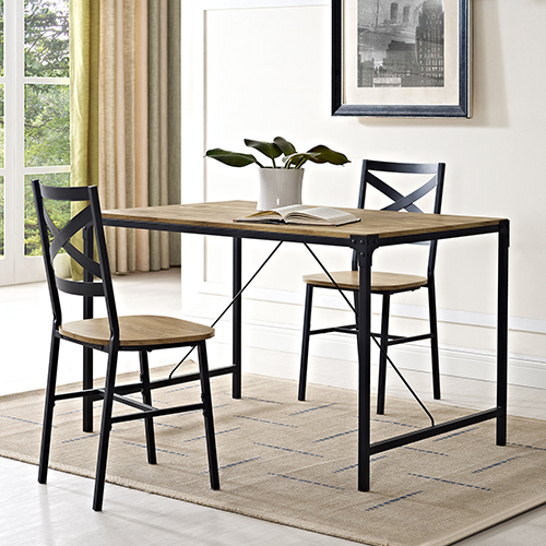 48-Inch Angle Iron Wood Dining Table, Barn wood