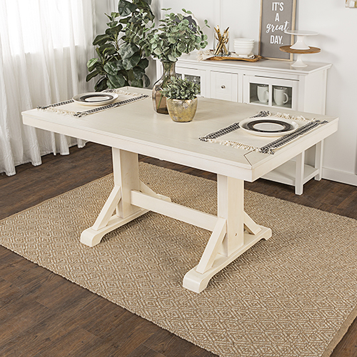 60-Inch Millwright Wood Dining Table - Antique White
