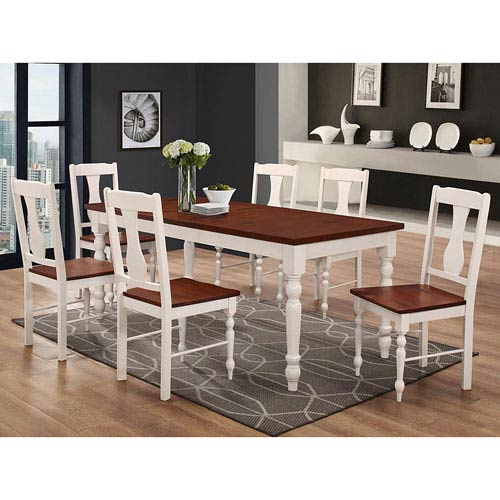Walker Edison Furniture Co 60 Inch Solid Wood Turned Leg Dining Table Brown White