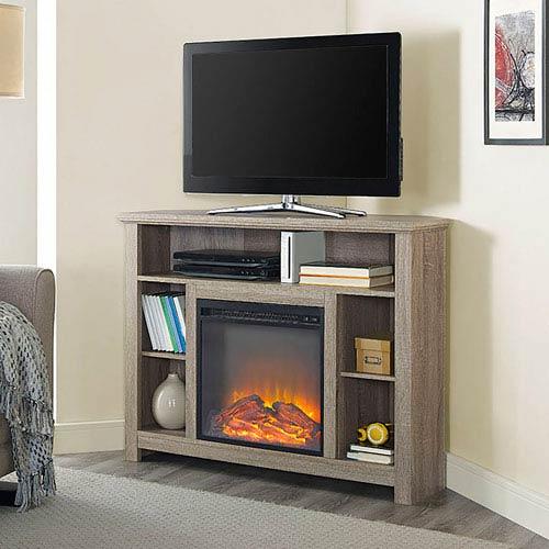 44-inch Wood Corner Highboy Fireplace TV Stand - Driftwood
