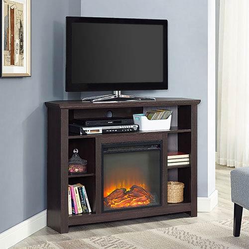 Walker Edison Furniture Co 44 Inch Wood Corner Highboy Fireplace Tv