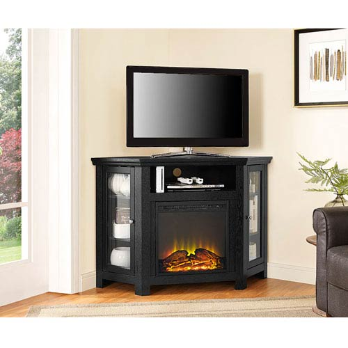 Walker Edison Furniture Co 48 Inch Corner Fireplace Tv Stand Black
