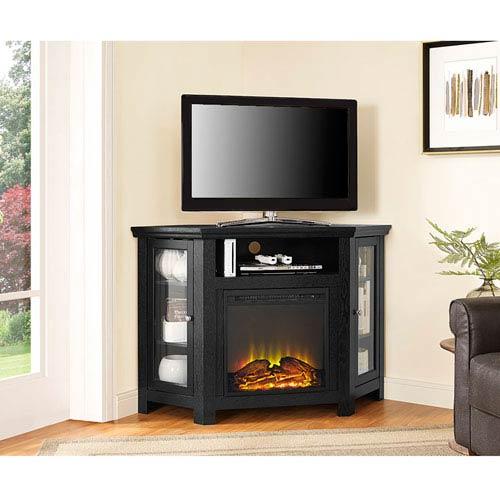 48-inch Corner Fireplace TV Stand - Black