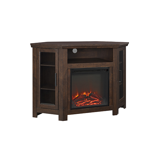 48-Inch Wood Corner Fireplace Media  TV Stand Console  - Traditional Brown