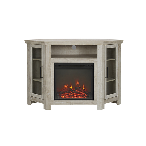 48-Inch Wood Corner Fireplace Media  TV Stand Console  - White Oak