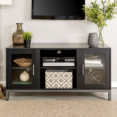 Walker Edison Furniture Co. 52-Inch Avenue Wood TV Console with Metal Legs - Black