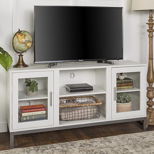 Walker Edison Furniture Co. 52-Inch Avenue Wood TV Console with Metal Legs - White