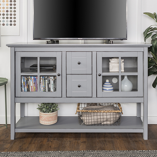 Walker Edison Furniture Co. 52-Inch Wood Console Table Buffet TV Stand - Antique Grey
