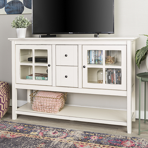 Walker Edison Furniture Co. 52-Inch Wood Console Table Buffet TV Stand - Antique White