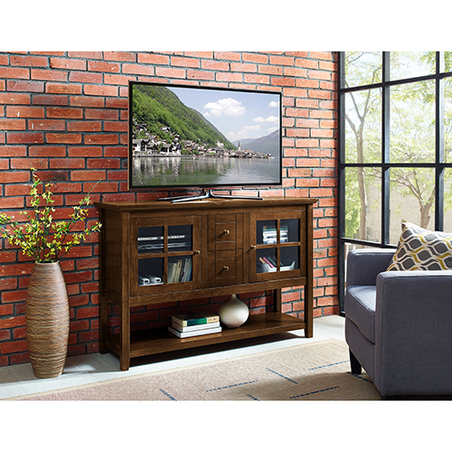 52-Inch Wood Console Table Buffet TV Stand - Walnut