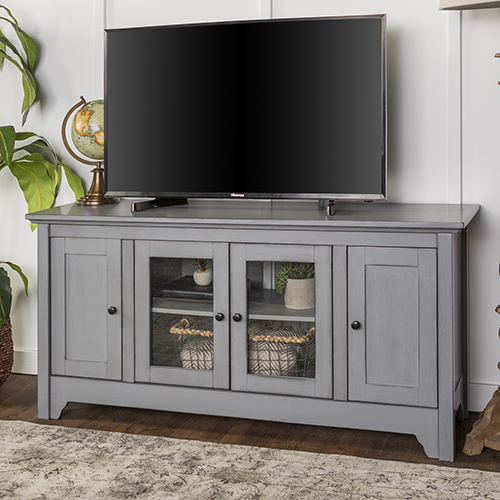 52 Inch Wood TV Media Stand Storage Console   Antique Grey