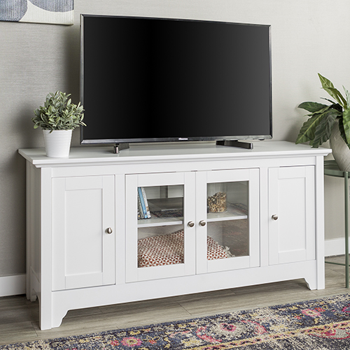52-Inch Wood TV Media Stand Storage Console - White