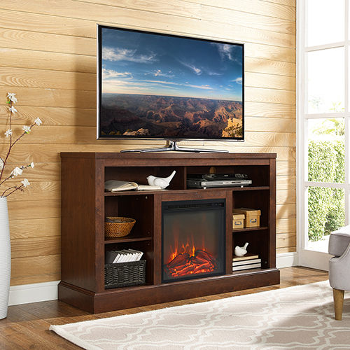 Walker Edison Furniture Co. 52-Inch Fireplace Tall TV Console with Open Storage - Traditional Brown