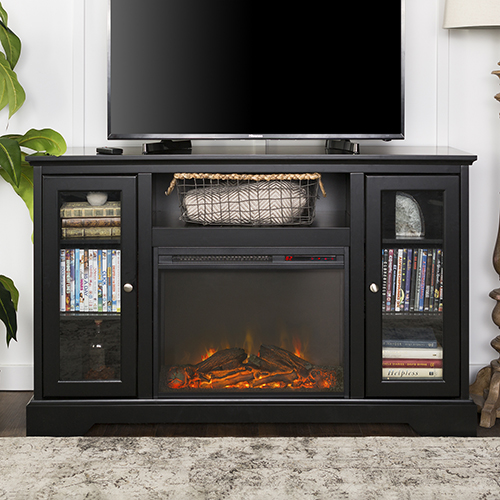 Walker Edison Furniture Co. 52-Inch Highboy Fireplace Wood TV Stand Console - Black