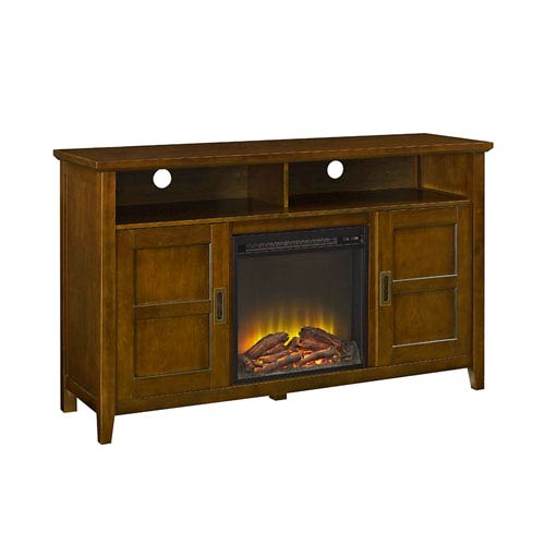 Walker Edison Furniture Co. 52-inch Rustic Chic Fireplace TV Stand - Rustic Brown