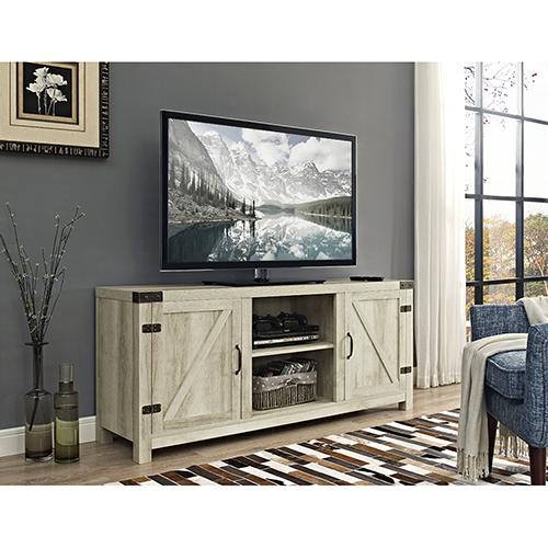 58-Inch Barn Door TV Stand with Side Doors - White Oak
