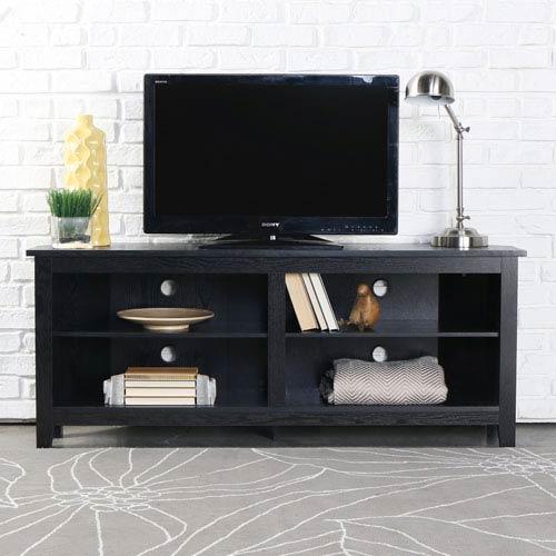 58-inch Wood Corner TV Console - Black