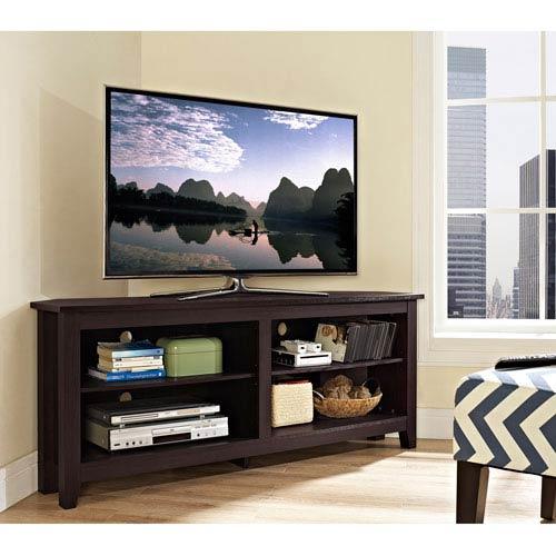 58-inch Wood Corner TV Console - Espresso