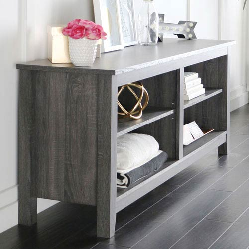 58-inch Charcoal Grey Wood TV Stand Console