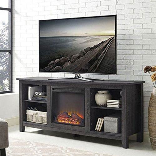 Walker Edison Furniture Co 58 Inch Charcoal Wood Fireplace Tv Stand