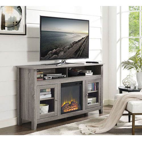 58-inch Wood Highboy Fireplace TV Stand - Driftwood