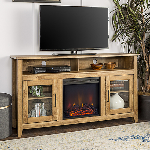 58-Inch Wood Highboy Fireplace Media TV Stand Console - Barn wood