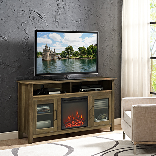 Walker Edison Furniture Co 58 Inch Wood Highboy Fireplace Tv Stand