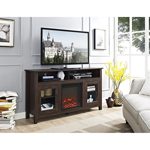 58-Inch Wood Highboy Fireplace Media TV Stand Console - Traditional Brown
