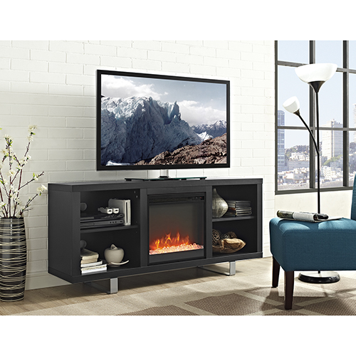 58-Inch Simple Modern Fireplace TV Console - Black