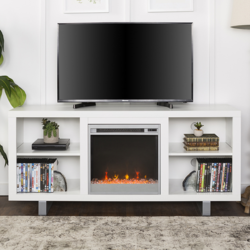 Walker Edison Furniture Co. 58-Inch Simple Modern Fireplace TV Console - White