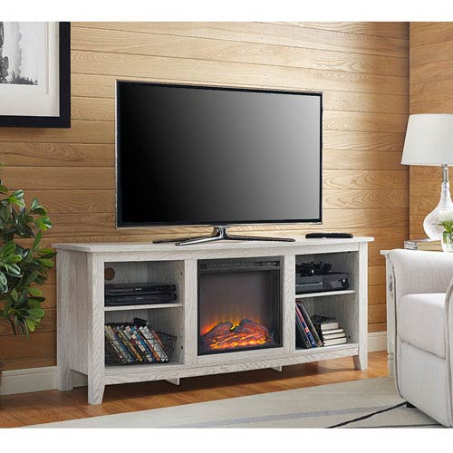 58-inch White Wood Fireplace TV Stand