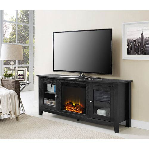 Walker Edison Furniture Co. 58-inch Black Wood Fireplace TV Stand with Doors