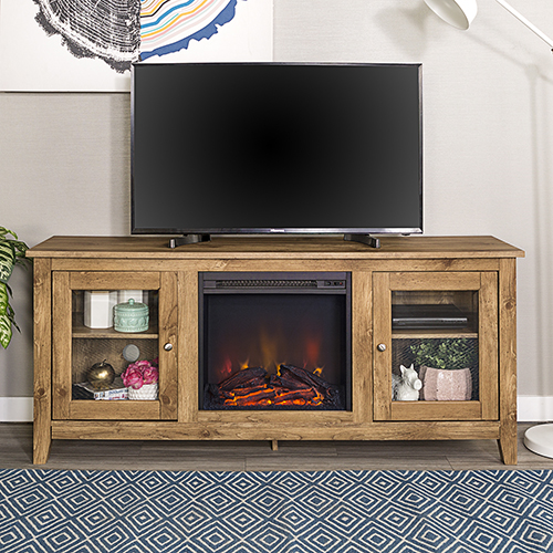 Walker Edison Furniture Co. 58-Inch Wood Media TV Stand Console with Fireplace - Barn wood