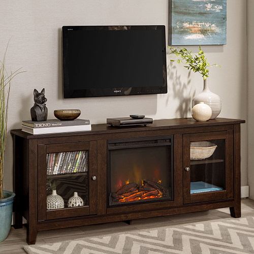58-Inch Wood Media TV Stand Console with Fireplace - Traditional Brown