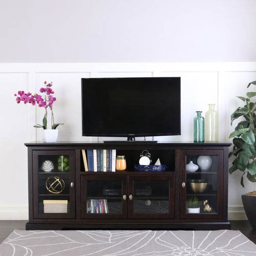 70-inch Highboy Style Wood TV Stand - Espresso