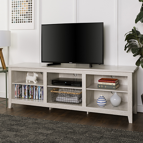 70 Inch Wood Media TV Stand Storage Console   White