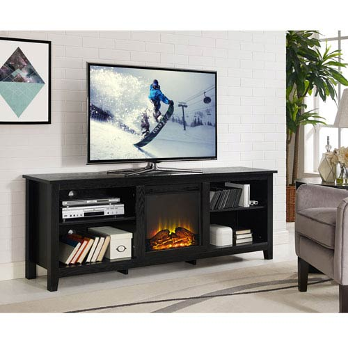 Walker Edison Furniture Co 70 Inch Black Wood Fireplace Tv Stand