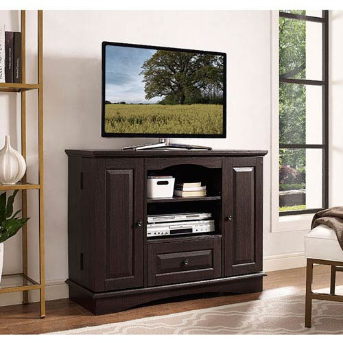 Walker Edison Furniture Co 42 Inch Espresso Wood Highboy Tv Stand