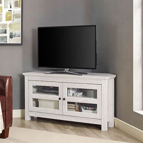 Walker Edison Furniture Co 44 Inch White Wash Corner Wood Tv Stand