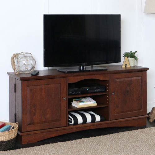 Traditional Brown 60-Inch Media Storage TV Console