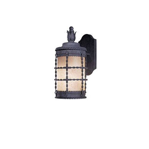 Kingswood Iron One-Light Fluorescent Outdoor Wall Sconce with French Scavo Glass