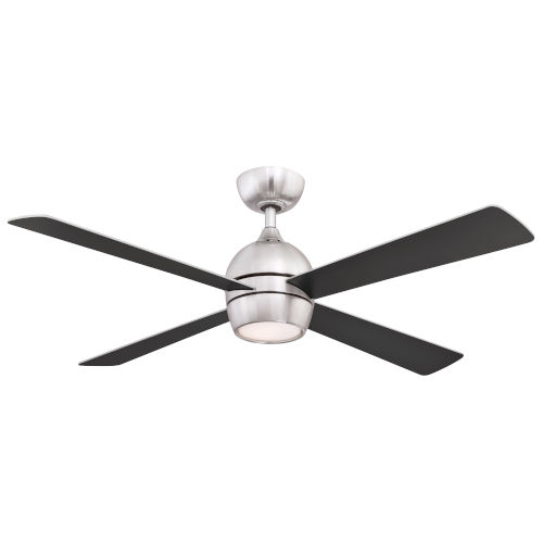 Kwad Brushed Nickel 52-Inch LED Ceiling Fan with Black Blades